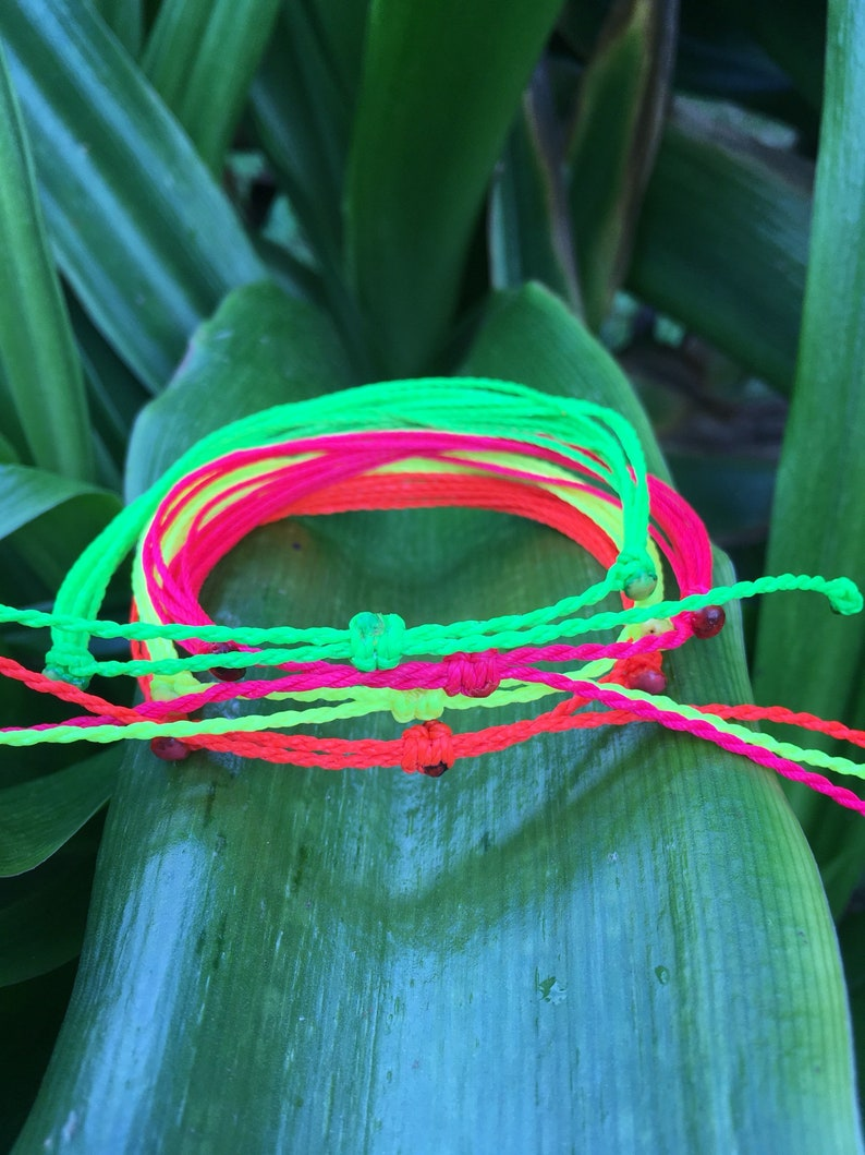 Neon bracelet set string bracelet surf surfer bracelets costa verde bracelets waterproof bracelet beach wedding party favors fitness running