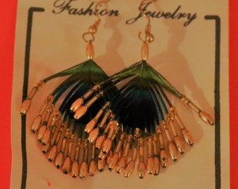 0deab1f52 Vintage New Peacock Feather Pierced Earrings