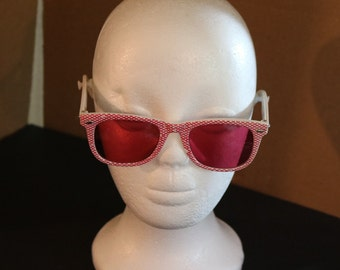 889ace586c Vintage New White Sunglasses w Red Checkers