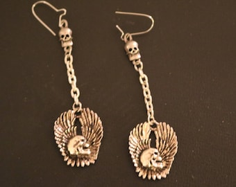 Vintage New Skull w/Eagle Wings Earrings