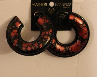Vintage New Black w/Pink Spots Thick Hoop Style Pierced Earrings