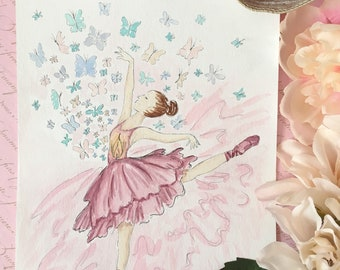Let your light shine painting-original painting-ballerina painting-butterflies painting-heartwarming painting