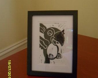 Parrot Lino Print - Home Decor - Wall Art - Gift