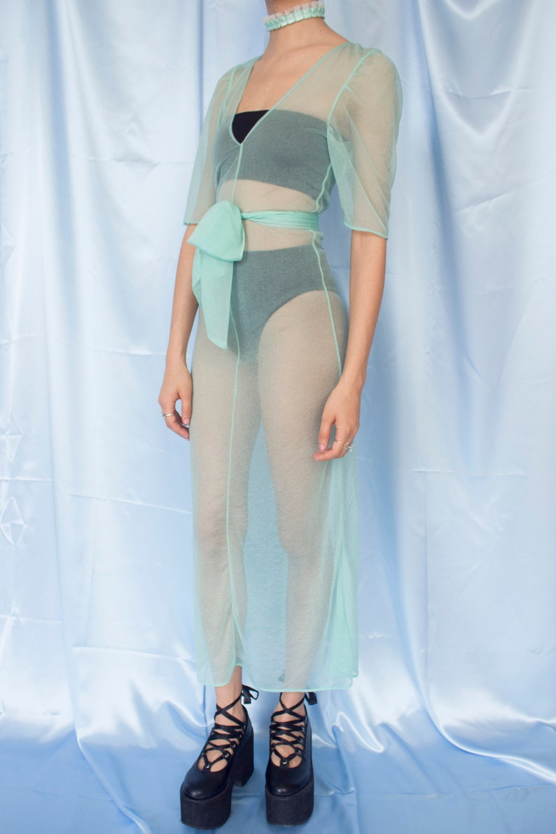 S Princess Long Sheer Transparent Pastel Green Turquoise Belted Short Sleeve Dress