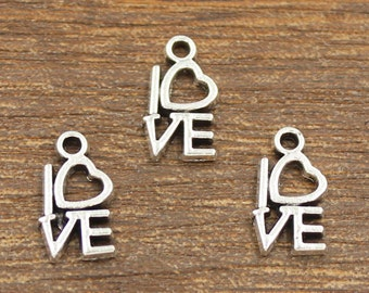30pcs Love Charms Antique Silver Tone 8x14.5mm - SH374