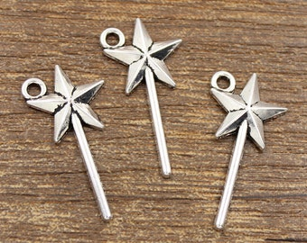 50pcs Magic Wand Charms Antique Silver Tone 13x25mm - SH70