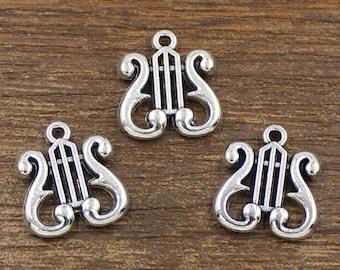 20pcs Harp Charms Antique Silver Tone 15x17mm - SH336