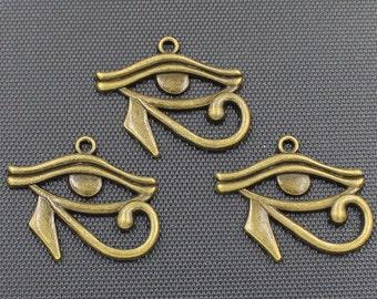 10pcs Eye Charms, Egyptian Eye of Horus Charm, Antique Bronze Tone 31x25mm - BH333