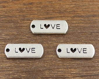 20pcs Love Charms Antique Silver Tone 8x21mm - SH405