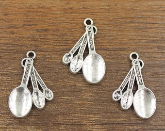 10pcs Measuring Spoons Charms Antique Silver Tone Double Side 20x31mm - SH699