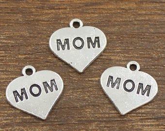20pcs Mom Heart Charms Antique Silver Tone 16x16mm - SH498