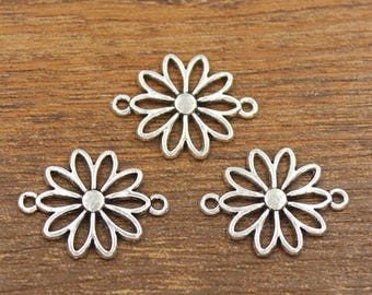 20pcs Flower Connector Charms Antique Silver Tone 20x25mm - SH542