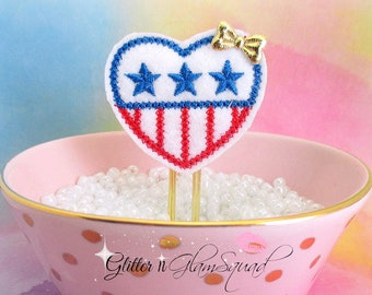 RTS Patriotic Hearts Planner Clips, Glitter Paper clips for Planners, Planner accessories, Paper Clips for Planners, Ready to ship