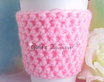 RTS Pink Cup Cozy, Crochet Cup Cozy, Coffee Cup Cozy, Coffee Sleeve, Tea Cozy, Crochet Coffee Sleeve