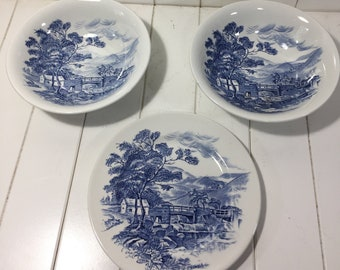 Set Of 3 Vintage Enoch Wedgewood Countyside Salad Plate And 2 Bowls, Vintage Blue And White Plates, Transferware, Collectable Plates, Gift