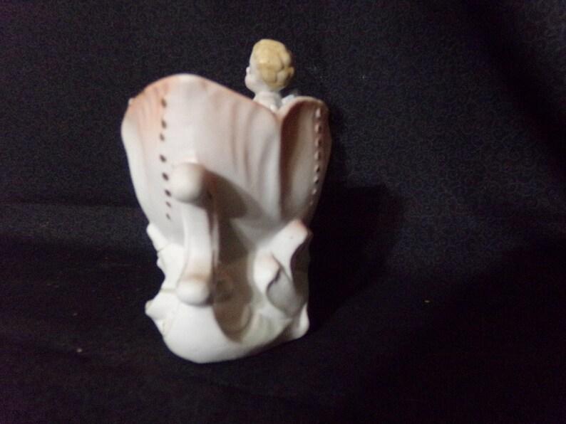Occupied Japan Red Lettered Planter Figurine,Vintage Figurine,Oriental Figurine Cherub On Mythical Sea Dragon Vintage,Antique,Collectable