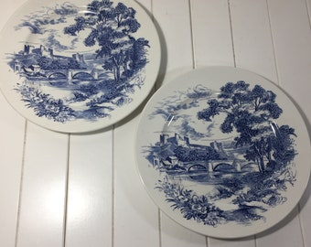 Set Of 2 Vintage Enoch Wedgewood Countryside Dinner Plates, Vintage Blue And White Plates, Transferware Plates, Collectable Plates, Gift