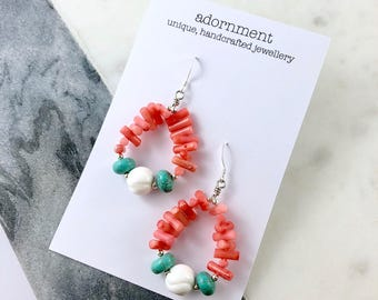 Statement earrings, Coral and tuquoise statement earrings with 925 sterling silver earring hooks