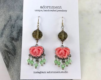 Statement earrings, Floral and crystal earrings with Sterling Silver 925 Earring Hooks