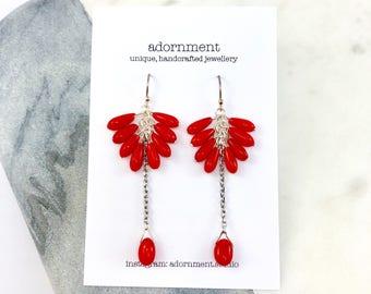 Statement earrings, Red Coral Drop Earrings with Sterling Silver 925 Earring Hooks