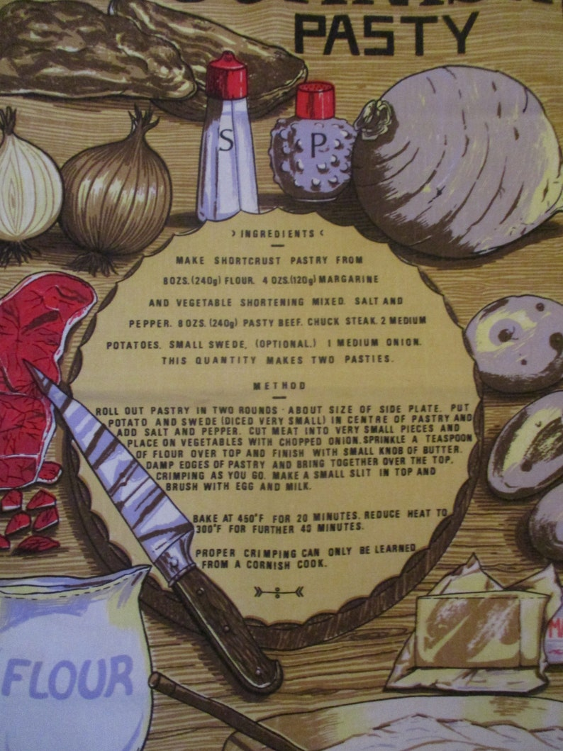 Vintage Cornish Pasty Recipe  Cotton Souvenir Tea Towel