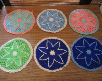Set of Six Crochet Circle Coasters