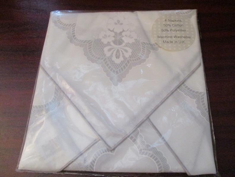 Vintage white cotton  Polyester Napkin set of Four