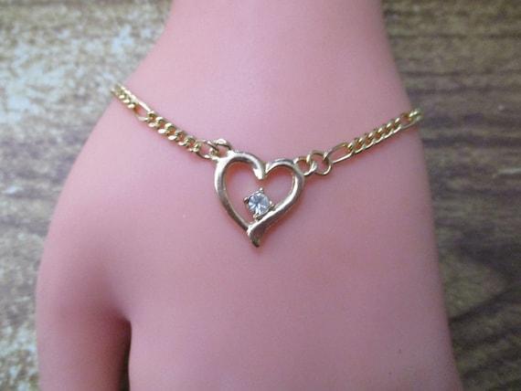 Heart Bracelet with Diamante Detail