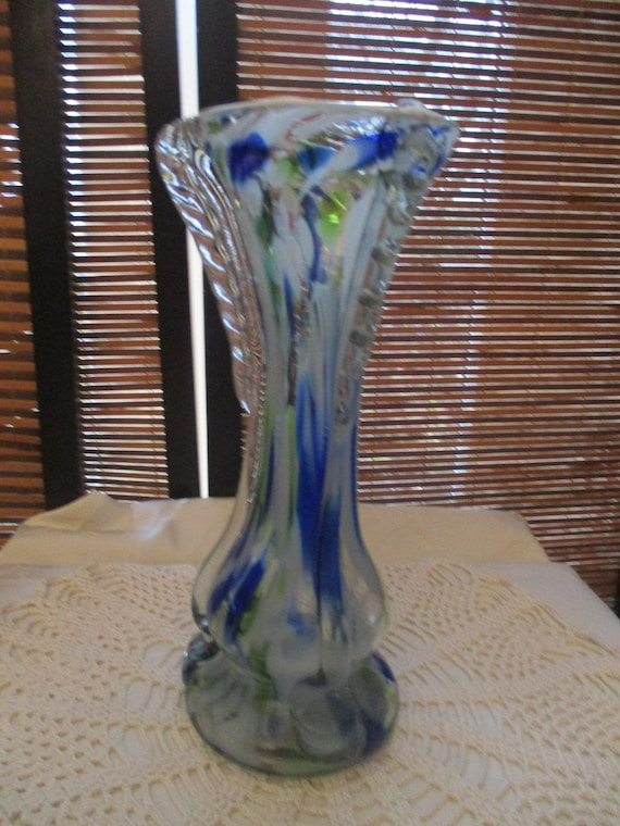 Vintage Glass Vase Multi Coloured Blue Yellow And White Etsy