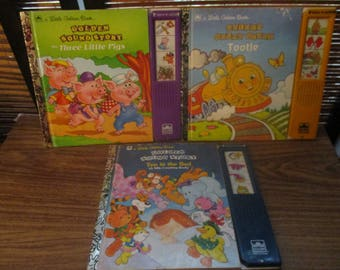 Little Golden Book Golden Sound  Story Book with Sound Effects -Tootle / Three Little Pigs /  Ten in a Bed (1994)