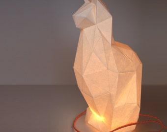 Cat DIY folding kit - easy downloads - geometric papercraft animal pet feline