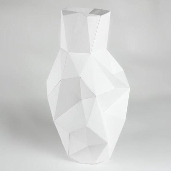 diy geometric paper vase template final object 33cm etsy