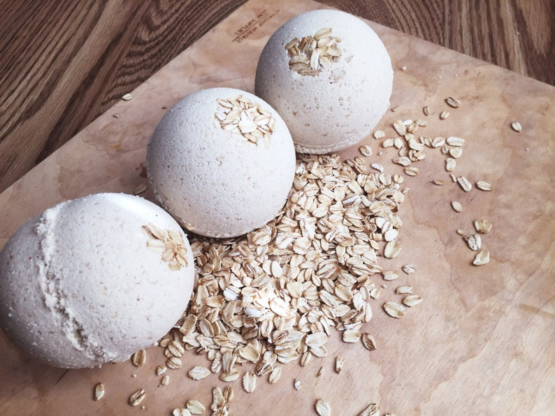 Oatmeal Honey Bath Bomb  Goat Milk and Oatmeal for a Soothing image 0