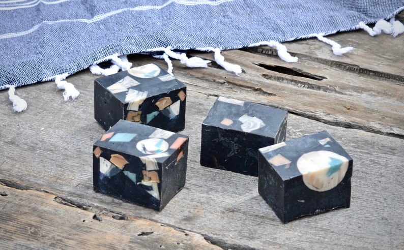Black Confetti Recycled Handmade Soap  All Natural Skincare  image 0