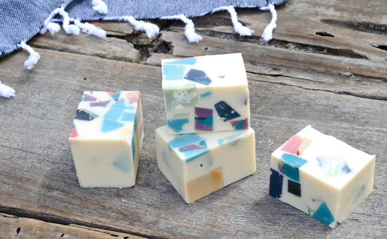 White Confetti Recycled Handmade Soap  All Natural Skincare  image 0
