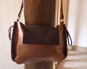 SAC cuir d agneau - porté épaule-cuir doré - leather - doublé - reglable -  fermé par bouton aimanté - Hand made in France 6310392c3ea