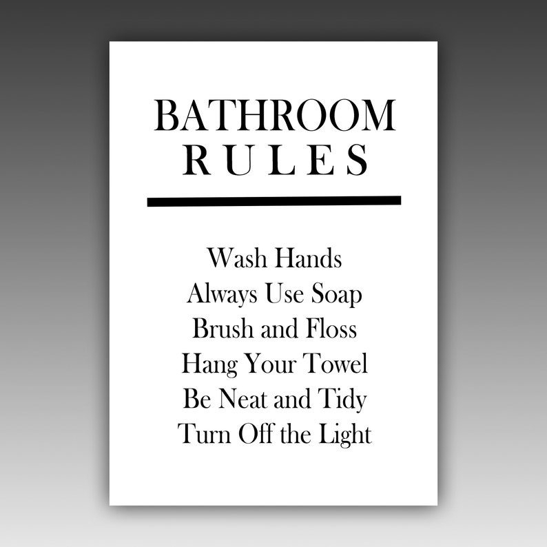 Excellent Bathroom Printable Rules Sign Bathroom Wall Decor Bathroom Sign Instant Download Printable Art Bathroom Humor Beutiful Home Inspiration Semekurdistantinfo