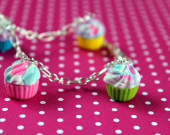 Rainbow Swirl Cupcake Charm Bracelet