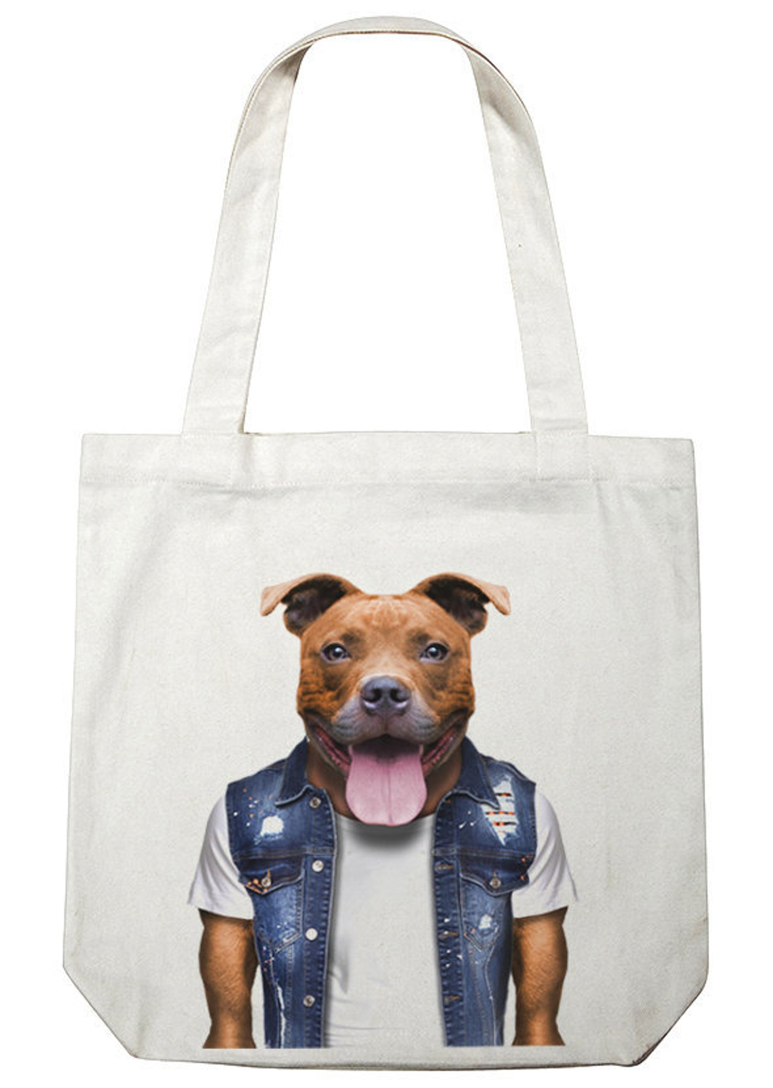 Staffy print tote bag