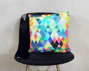 "Colorful Triangles 18""x18"" Square Pillow"