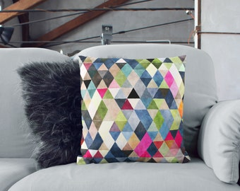 "Watercolor Triangles 18""x18"" Square Throw Pillow"