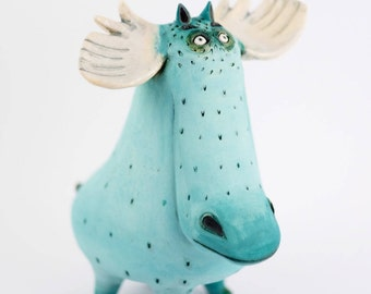Ceramic sculpture - Ceramic Figurine - Handmade Ceramics - Ceramic Animal Sculpture - Turquoise - Deer sculpture - Unique gift - Home Decor
