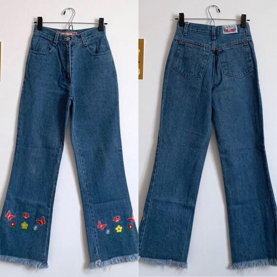 Vintage embroidered flare jeans, medium blue wash,