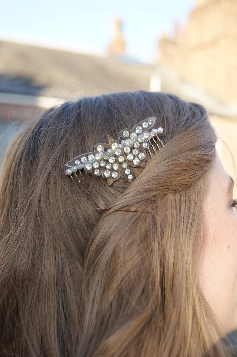 Lucite /& Diamante Bridal  Wedding Bridesmaid Prom Hair Accessories Vintage Butterfly Hair Comb