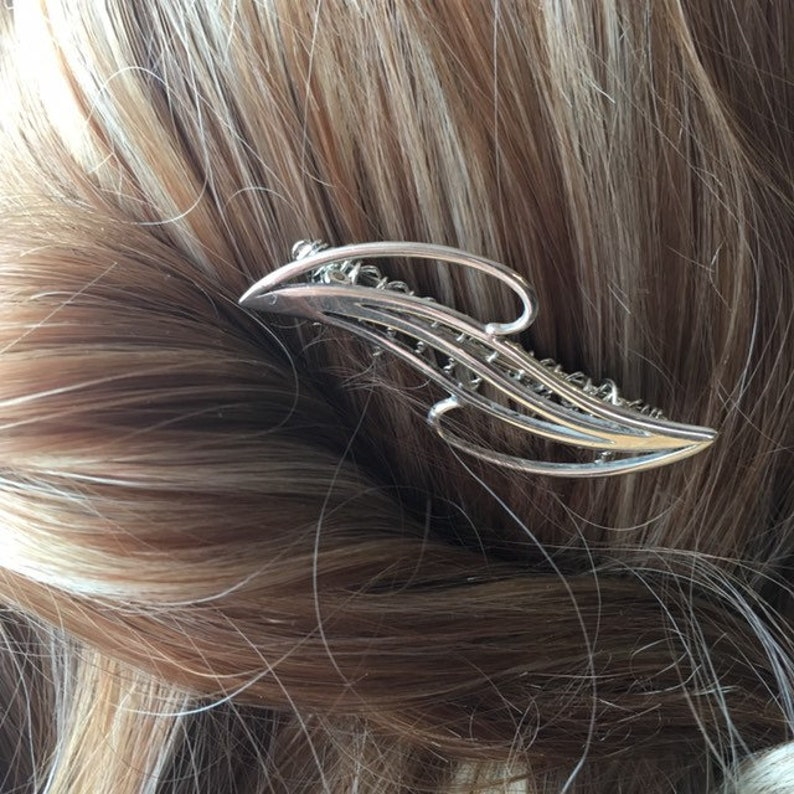 Modernist Design Bridal Bridesmaid Prom Hair Accessories Sterling Silver Hair Comb Hallmarked