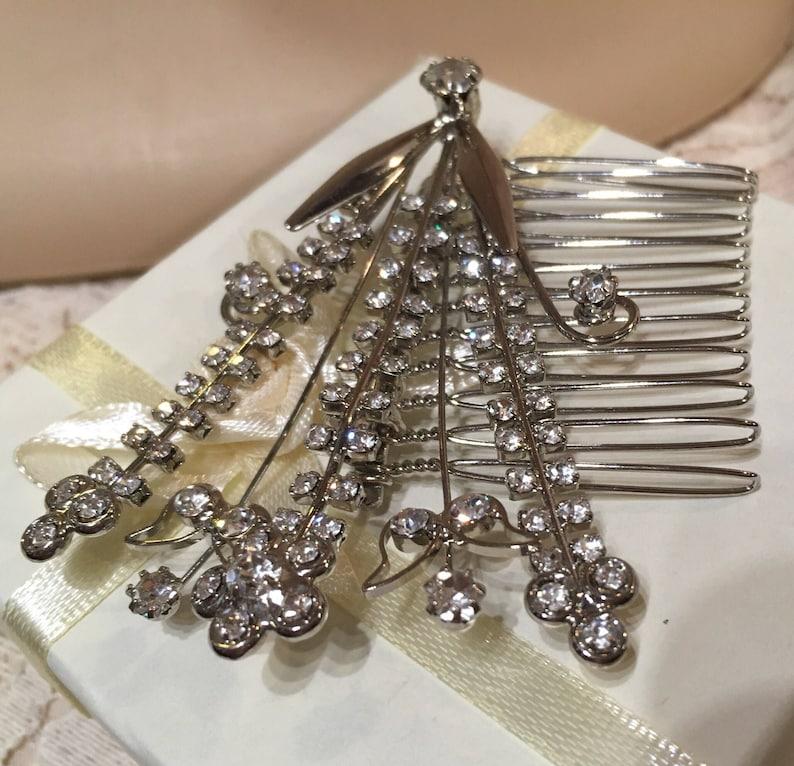 Wedding Hair Accessories Bridesmaid Vintage Diamante Hair Comb-  Vintage Bridal Prom Hair Comb