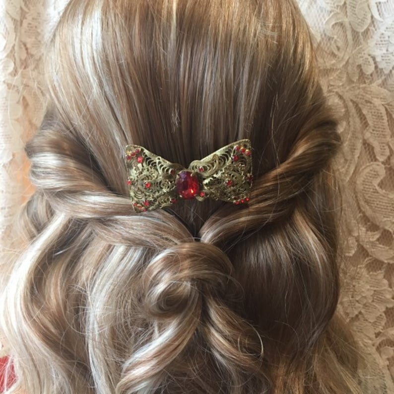 Vintage Hair Comb Made Using A Czech Filigree Bow Brooch Red Stone Wedding Hair Accessory Bridal Hair Accessories