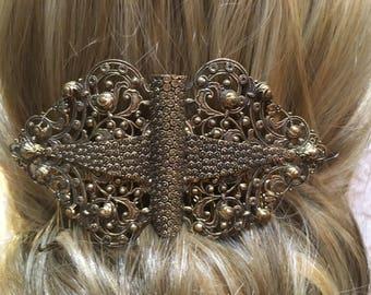 Large Vintage Gold Filigree Hair Comb- Rococo Design Hair Comb , Vintage Bridal, Bridesmaid, Prom Hair Comb, Wedding Hair Accessories