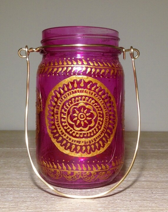 Indian Bohemian Pink Henna Lantern Using Mason Jars Indian Etsy