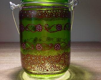 Green Moroccan henna lanterns,Mason jar lanterns, Perfect for henna party decor